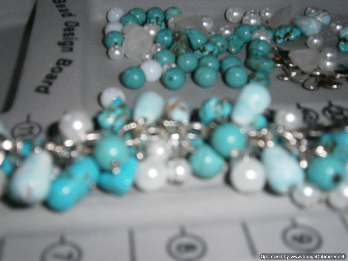 Full Circle Jewellery Making Parties - Turquoise and pearl charm bracelet made during a jewellery making hen party in London