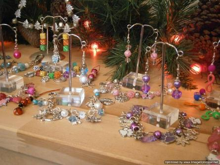 jewellery display for a charm bracelet party run by Olga